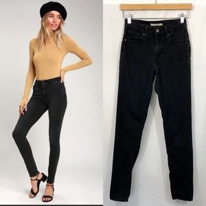 Levi's 721 High Rise Skinny Washed Black Jeans